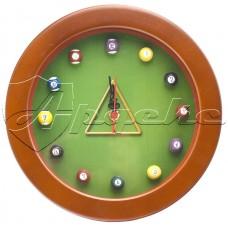 Часы настенные в деревянном корпусе Бильярд 24см оригинальный контент, JM3002