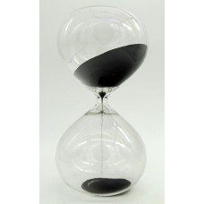 Часы песочные в виде стеклянной колбы интервал 30 минут высота 23 см, STB23BLACK